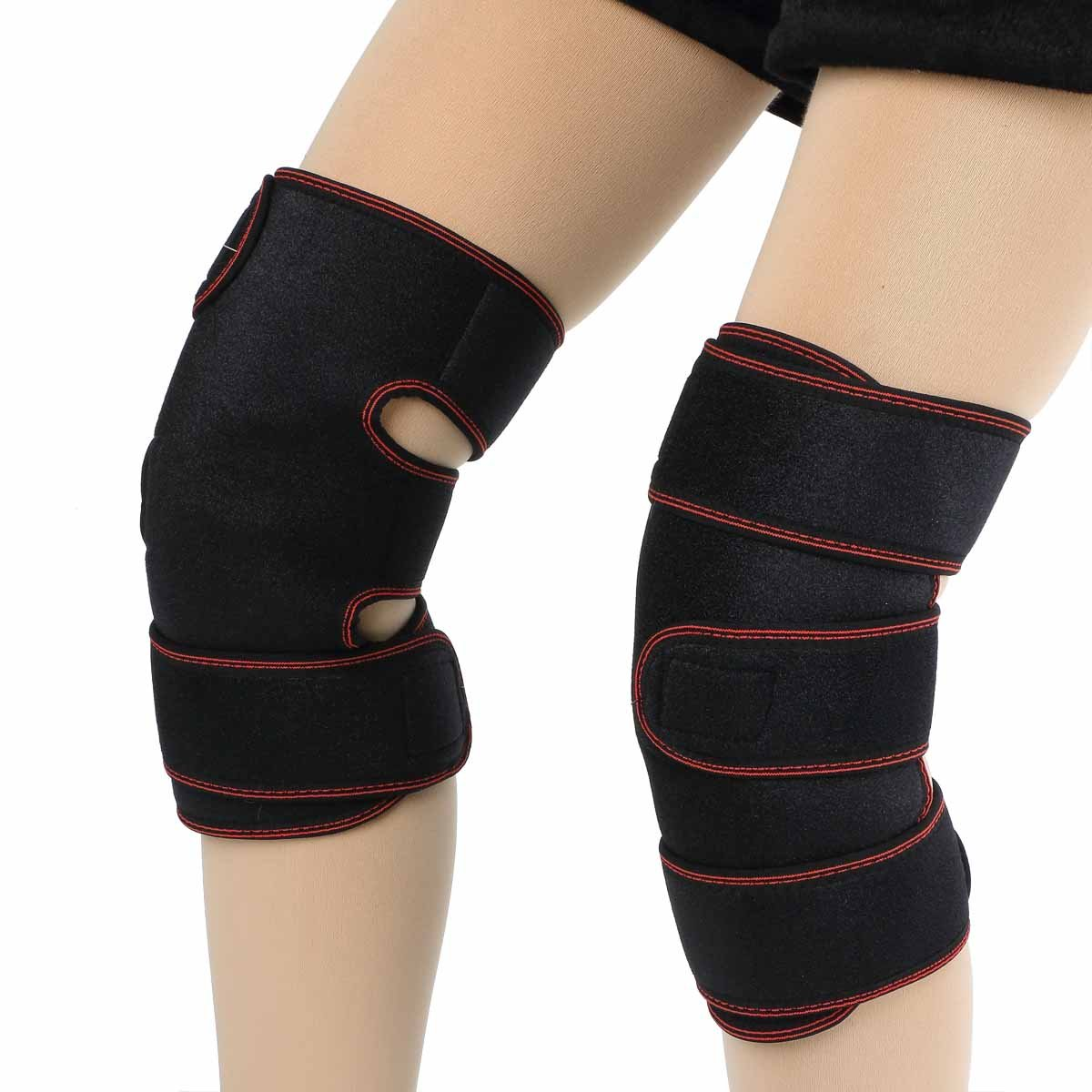 Tcare Health Care Knee Brace Support Therapy Compression Sleeves, with Wool Pads and Tourmaline Magnetic Therapy Pads for Arthritis, Meniscus Tear,ACL,Pain Relief, Injury Recovery (Red)