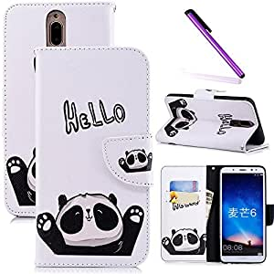 COTDINFOR Huawei Mate 10 Lite Funda Precioso Animales Impresión Patrón Suave PU Cuero Cierre Magnético Billetera con Tapa para Tarjetas de Cárcasa para Huawei Mate 10 Lite Hello Panda BF.
