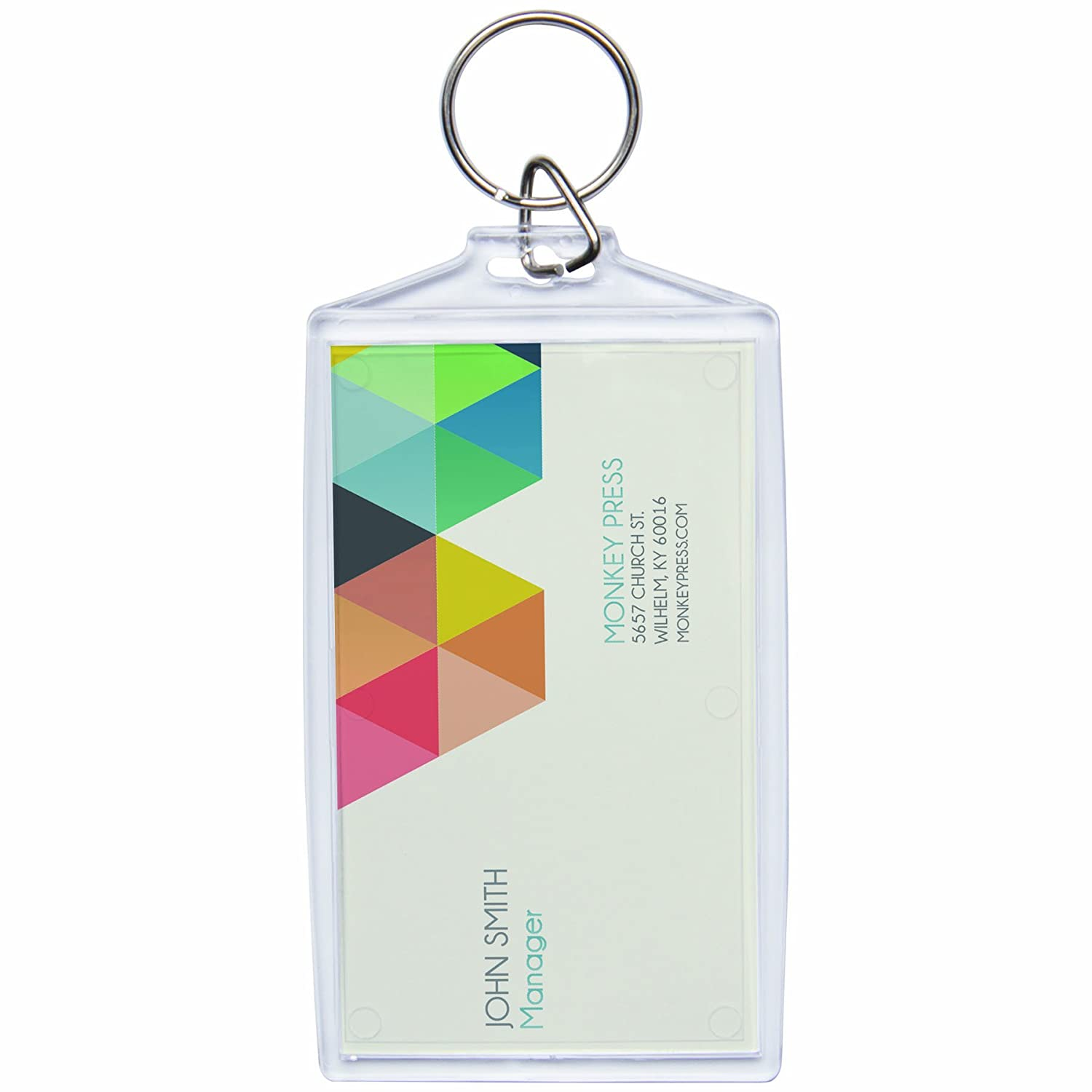 Acrylic Photo Snap-in Business Card Size Key Chain - 25 Pack Neil Enterprises Inc.
