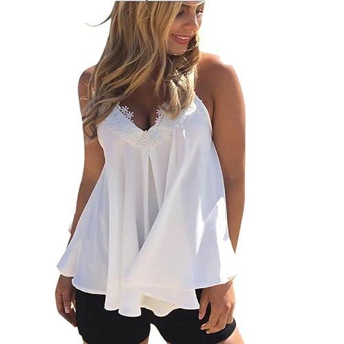 Rcool Gasa Sin Mangas del Chaleco del Verano de las Mujeres Blusa de la Camisa