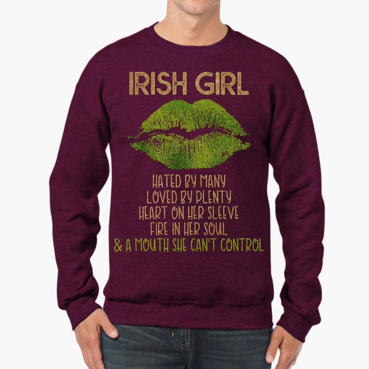 tee Doryti Irish Girl a Mouth Cant Control Saint Patrick Day Gift Unisex Sweatshirt