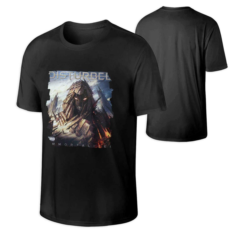 luzuoq Mens T Shirt Disturbed Immortalized Music Band Short Sleeves Tshirts