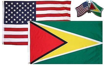 Amazon com : MWS Wholesale Combo USA & Guyana Country 3x5 3
