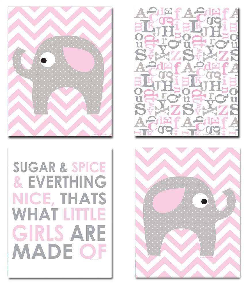 The Kids Room By Stupell Grey Elephant On Pink And White Chevron Sugar And Spice 4-Pc Rectangle Wall Plaque Set, Proudly Made in USA by The Kids Room by Stupell