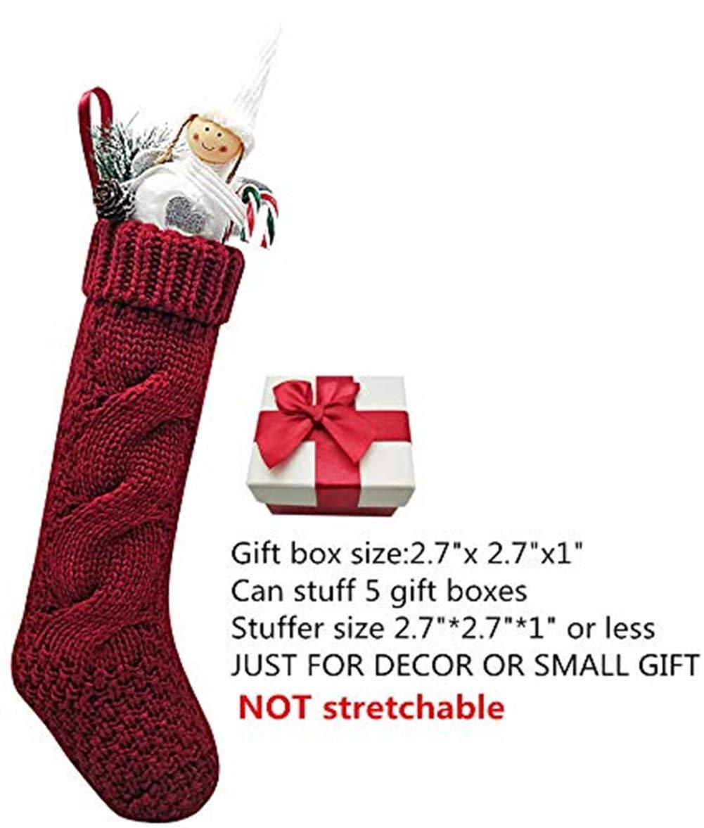 RULANKEJI 4Confezione Unico Borgogna e Avorio Bianco Maglia Calze di Natale 35,6cm 6cm