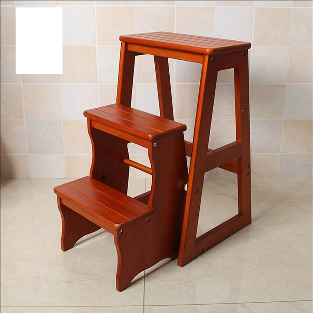 Brown ZHPBHD Ladder Stool Solid Wood Home Multi-function Folding Ladder Chair Indoor Mobile Climbing Ladder Dual-use Three-step Ladder Stool Climbing Ladder Step stool (color   Black)