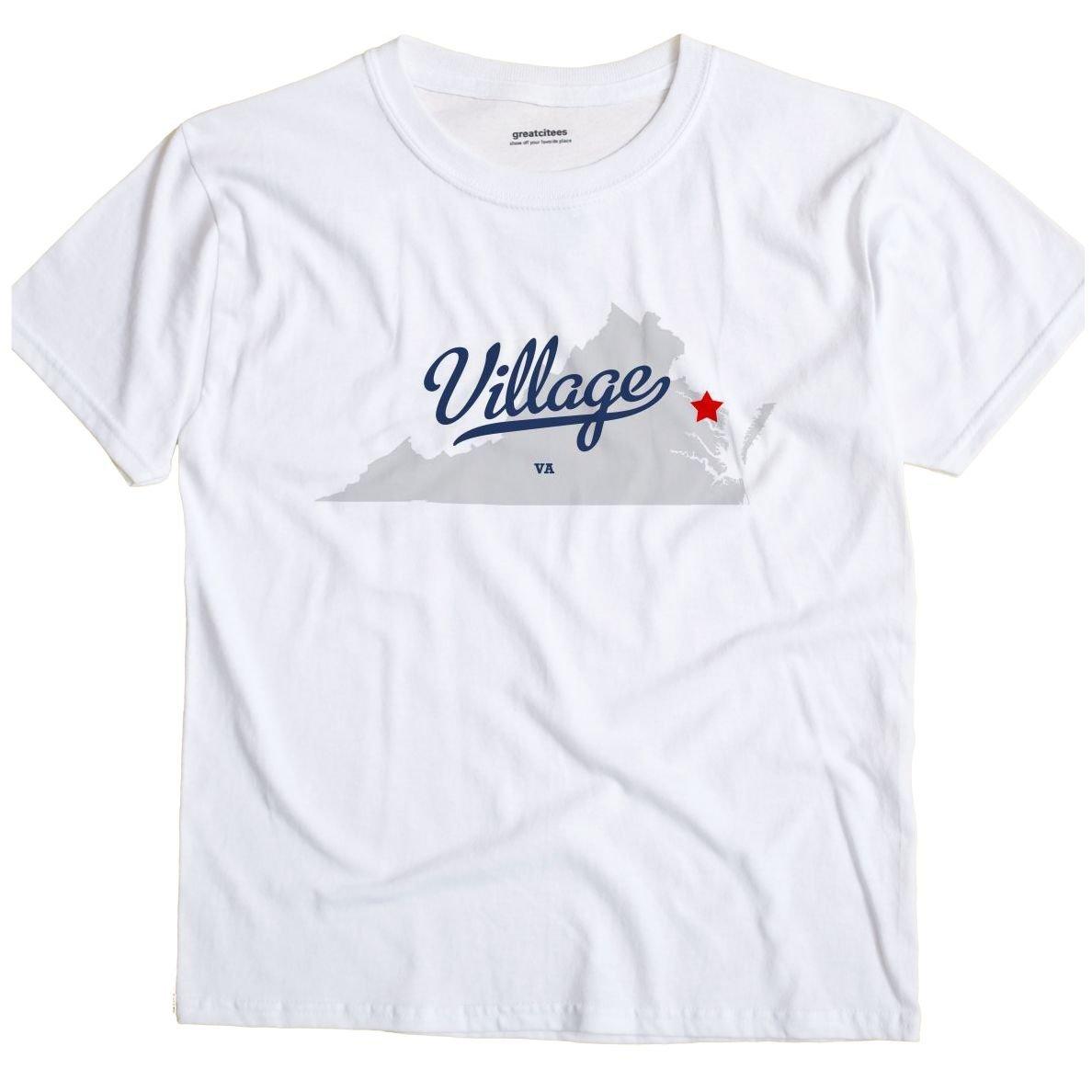 Greatcitees Village Virginia Va Map Unisex Souvenir T Shirt