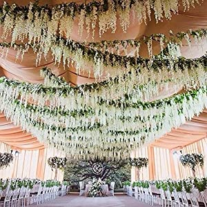Duovlo 4.59 Feet Artificial Wisteria Bush Vine 10 Stems Silk Hanging Flower for Wedding Events Yard Decor,Pack of 2 2