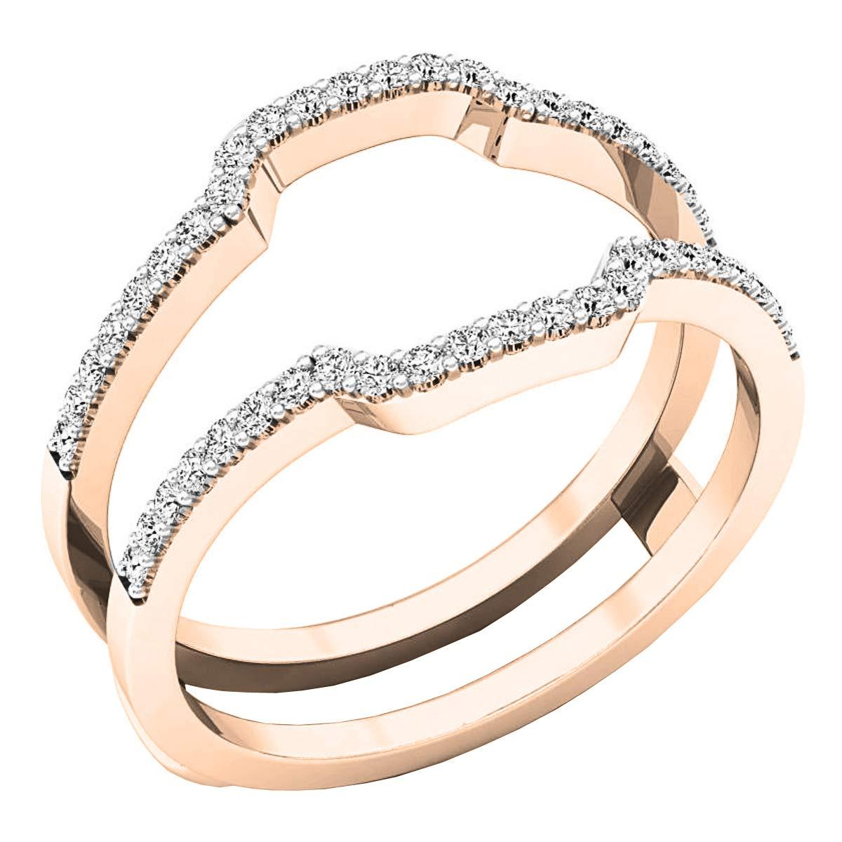 Dazzlingrock Collection 0.25 Carat (ctw) 14K Round Diamond Wedding Band Enhancer Guard Ring 1/4 CT, Rose Gold, Size 5