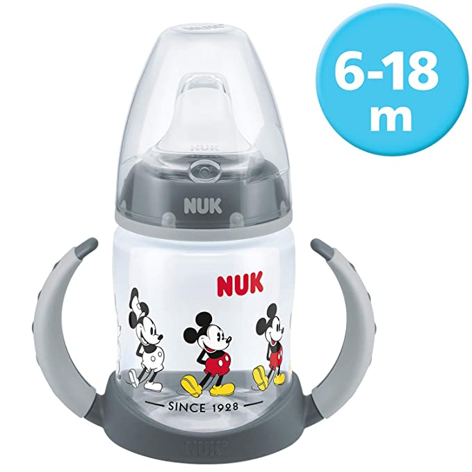 Nuk - Biberón Minnie Mouse de silicona, 150 ml + Nuk Mickey - Set de vajilla