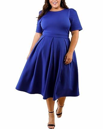 ad51ea6dc8 ABYOXI Damen Vintage Große Größen 50er Retro Rockabilly Kleid Knielang  Abendkleider Blau DE 44-46