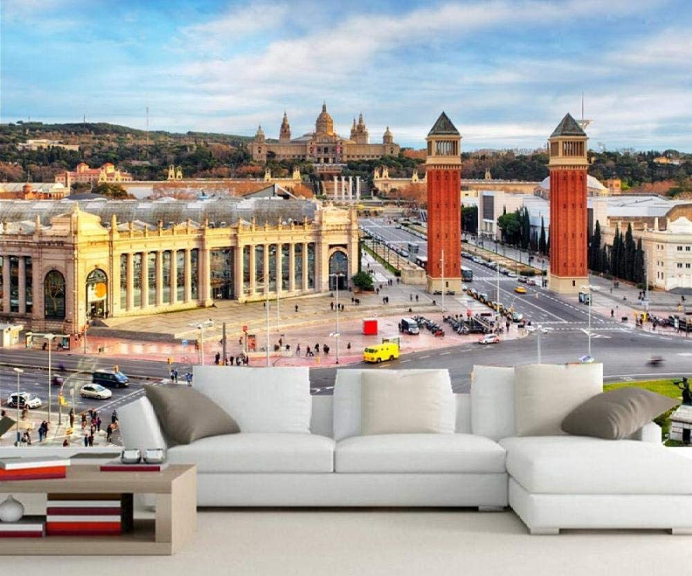 Fiartel España Casas Caminos Barcelona Calle Ciudades fondos de pantalla, sala de estar sofá TV pared dormitorio murales 3d fondo de pantalla-300X210CM: Amazon.es: Bricolaje y herramientas
