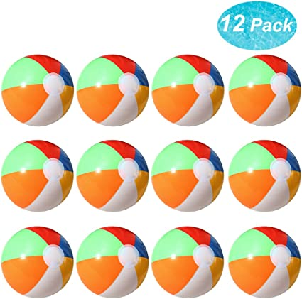 Amazon.com: lumiparty pelota de playa inflable, 12 unidades ...