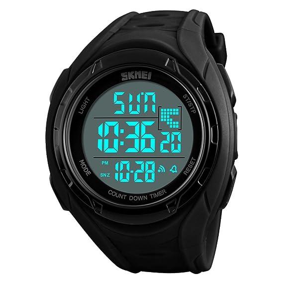 Hombre Reloj deportivo,50m resistente al agua Despertador Luminoso Calendario Gmt cuando dos Multifunción Cronómetro digital Junior Adolescentes Relojes ...