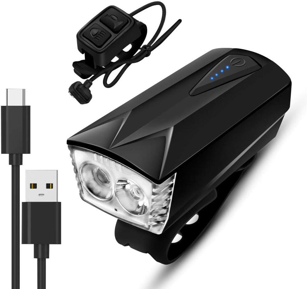 Daskoo Luz LED Bicicleta Delantera,Luz Recargable por USB para ...
