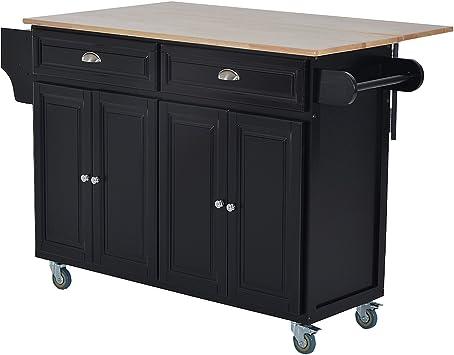 HOMCOM Wood Top Drop-Leaf Rolling Kitchen Island Table Cart on Wheels, Black