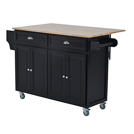 HOMCOM Wood Top Drop-Leaf Rolling Kitchen Island Table Cart on Wheels, Black