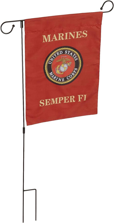 "Old Dominion LLC US Marine Corps (USMC) Vertical Garden Flag & Stand | 12"" x 17"" | Sturdy Black Metal Stand | Marine Corps Perfect Marine Gift"
