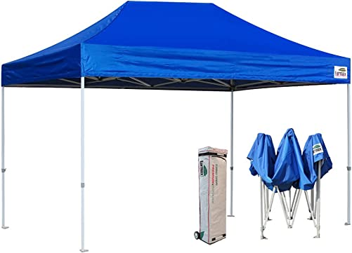 Eurmax 10×15 Feet Pre Ez Pop up Canopy Instant Canopies Shelter Outdoor Party Gazebo Commercial Grade Bonus Roller Bag Blue