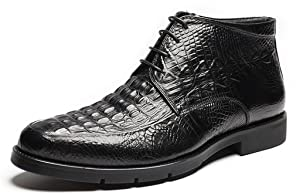 CAMSSOO Men's Alligator Leather Lace up Oxford Dress Ankle Shoes Black Cow Leather 7 US M