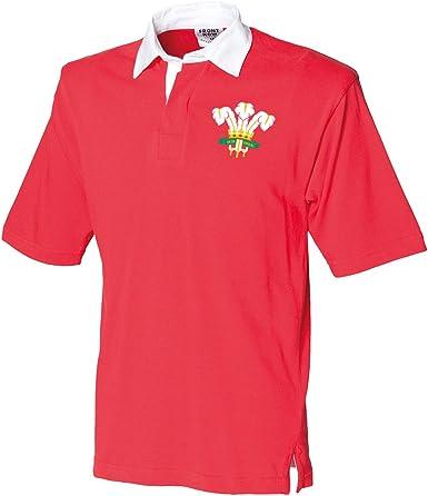 Para hombre Retro escudo de Gales camiseta de Rugby de manga corta ...