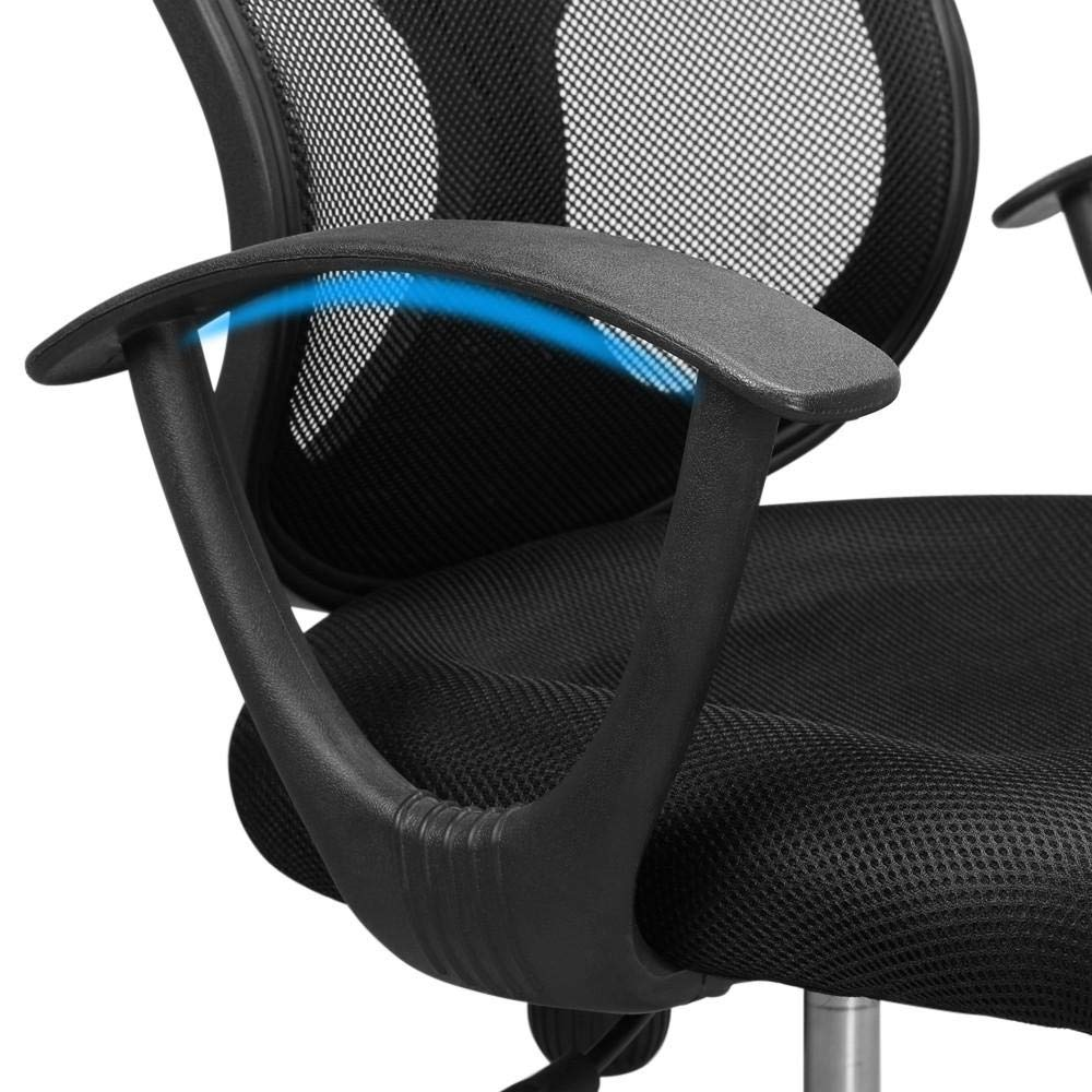 Yaheetech Desk Chiar Office Chair Ergonomic Mid-Back Mesh Computer Chair Height Adjustable with Armrest Swivel Office Chair Lumbar Support Swivel Chair (Black) by Yaheetech (Image #8)