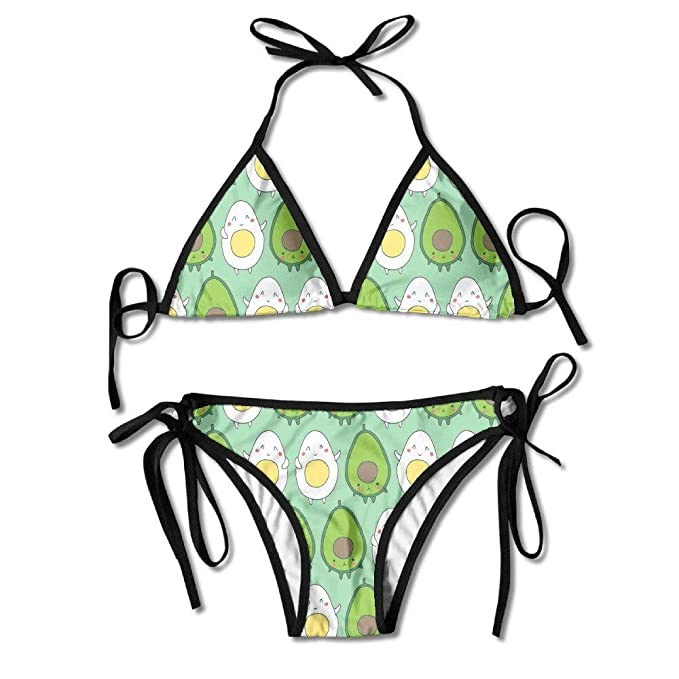 fa85722e13 Amazon.com: Avocado Egg Cute Kawaii Juniors Sexy Thong Soft Padded Bikini  Set Two Piece Swimsuits: Clothing