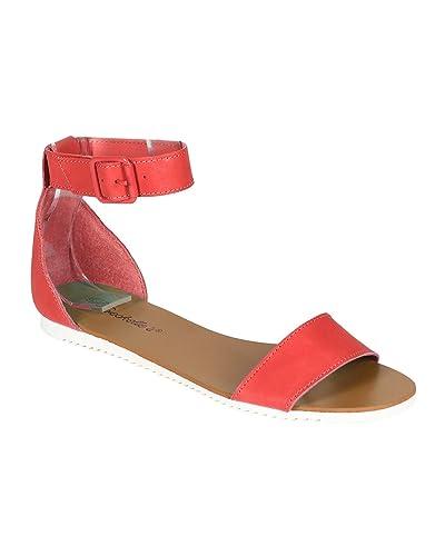 8166734f7077 Breckelle s Women Leatherette Open Toe Ankle Strap Flat Sandal CA52 -  Grapefruit (Size  6.0