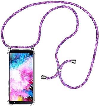 MXKOCO Carcasa de movil con Cuerda para Colgar Samsung Galaxy J6 Plus 2018-Funda para Phone Case con Correa Colgante/PC Smartphone Necklace con Banda- con Cordon para Llevar en el Cuello -Púrpura: Amazon.es: