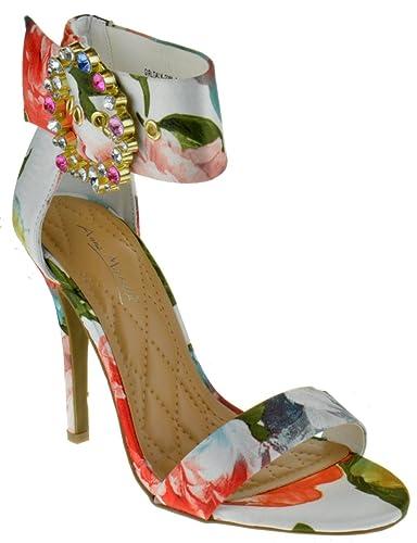 0539776124c6 Anne Michelle Girltalk 23M Womens Open Toe Stiletto Sandals White Multi 5.5