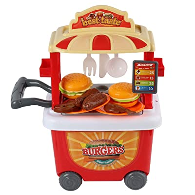 WGS Mini Barbecue Hamburger Grill Trolley Toy Supermarket Food Truck Pretend Playset: Toys & Games
