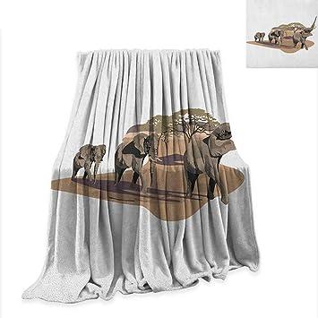 Amazon.com: Elephant Super Soft Lightweight Blanket African ...