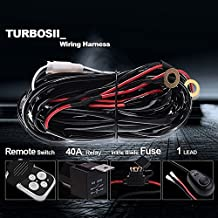 """TURBOSII 2""""-54"""" Offroad Led Work Light Bar Wirless Remote Wiring Harness Kit Fuse Relay On/Off Switch Fog Light Heavy Duty Wire 1 Lead for A Rzr 800 Mower Boat Golf Cart Aftermarket Light Silverado"""