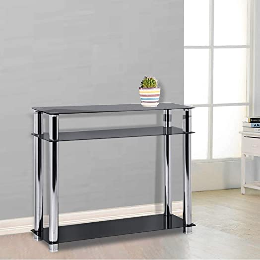 Popamazing 3 Tier Black Glass Console Table Hall Tables Narrow Chrome  Finish Leg Modern Hallway Furniture. Popamazing 3 Tier Black Glass Console Table Hall Tables Narrow