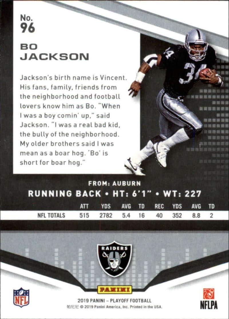 2019 Playoff Football #96 Bo Jackson Los Angeles Raiders Official Panini NFL Trading Card