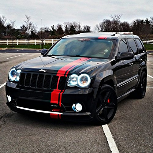 Decal Sticker Graphic Front to Back Stripe Kit Compatible with Jeep Grand Cherokee WK SRT-8 (Grand Cherokee Srt8 Rims compare prices)