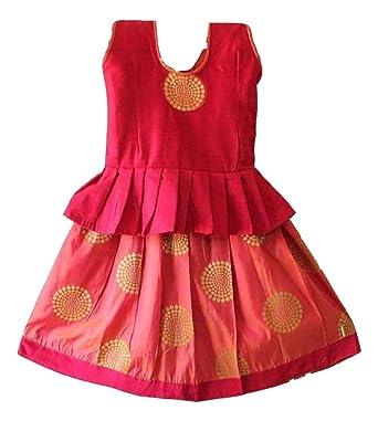 b87403d804 TrendyKidz Baby Girl's Cotton Silk Pattu Pavadai Lehengha Choli (Pink, 4-5  Years