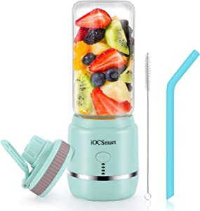iOCSmart Portable Personal Blender, USB Rechargeable Wireless Electric Juicer Blender for Fruits Smoothie Shakes Baby Food with Cup Lid, Silicone Straw, 4000mAh High Capacity Batteries (Blue)