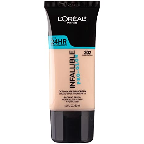 fd1a6bc9d L'Oreal Paris Makeup Infallible Up to 24HR Pro-Glow Foundation, 202 Creamy