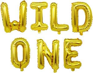 "16"" Wild One Birthday Balloons, Wild One Foil Letters Balloon Banner, Baby Girl Boy 1st Birthday Party Decoration Supplies(Gold)"
