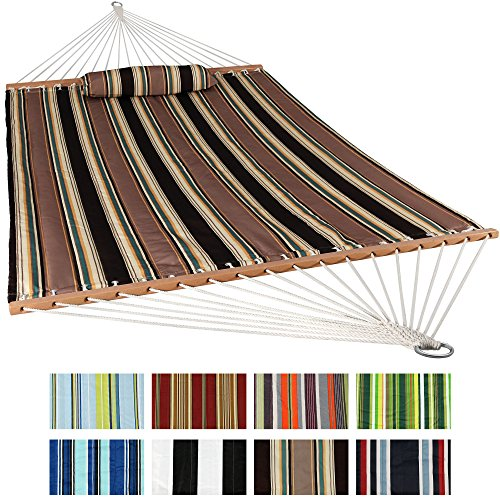 (Sunnydaze Two Person Hammock Quilted Fabric with Spreader Bars, 450 Pound Capacity, Sandy Beach)