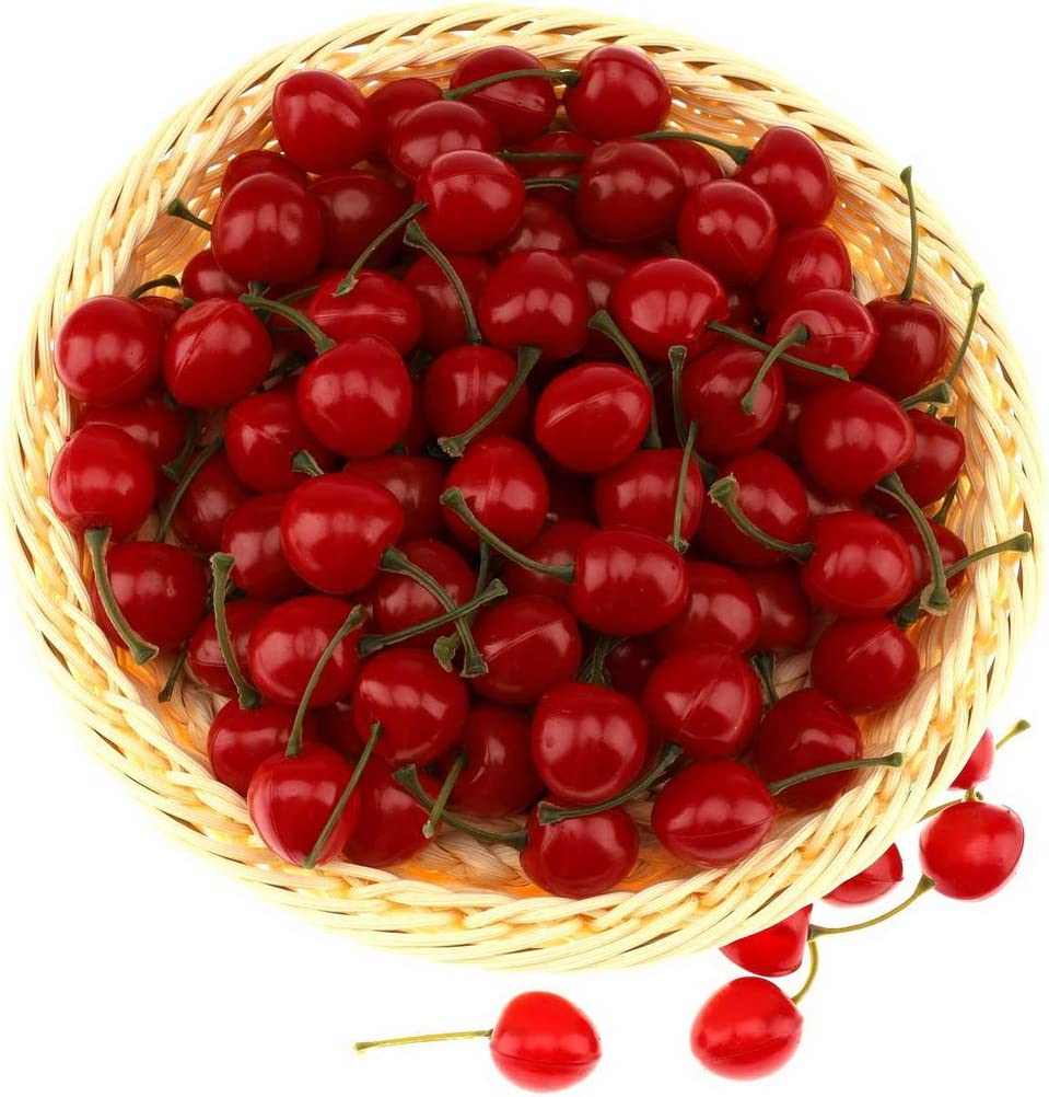 Gresorth 50pcs Artificial Lifelike Red Cherry Decoration Fake Chrries Fruit Food Home Party Christmas Display