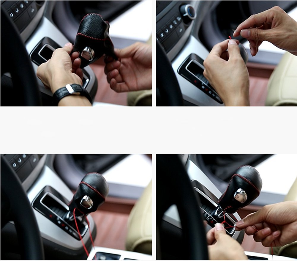 Salusy Black Genuine Leather Shift Gear Knob Cover For Honda Civic//Civic Coupe 2016 2017 2018 2019//Honda Civic Hatchback 2017 2018 2019