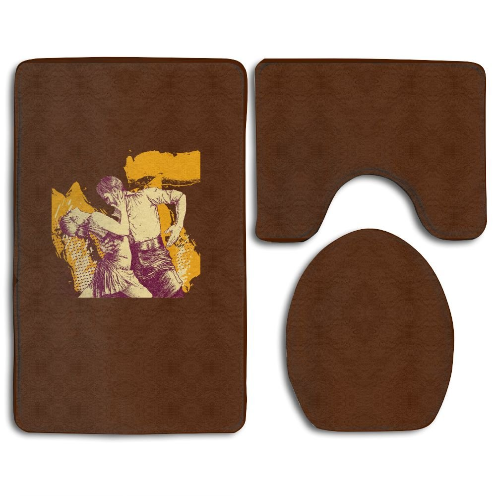 Latin Dance Lover Bathroom Rug Mat Set Flannel 3 Piece Bathroom Rug (32''x20'')/U-shaped Contour Mat (20''x16'') With Lid Cover (1418)