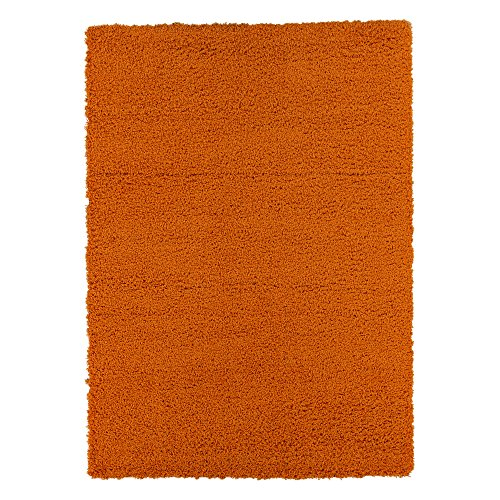 """Sweet Home Stores Cozy Shag Collection Solid Shag Rug Contemporary Living & Bedroom Soft Shaggy Area Rug, 60"""" L x 84"""" W, Orange"""