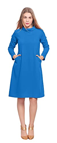 Marycrafts Womens Classy Vintage 1960s High Neck Sleeve A Line Dress