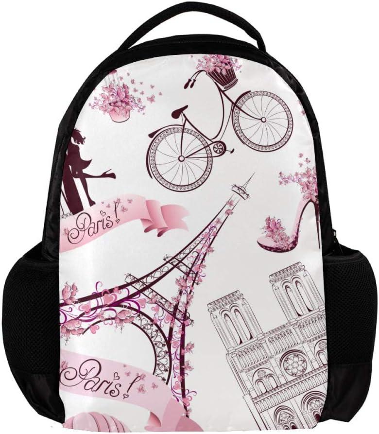 MAPOLO Pink Paris Elements School Backpack Travel Bag Rucksack College Bookbag Travel Laptop Bag Daypack Bag for Men Women