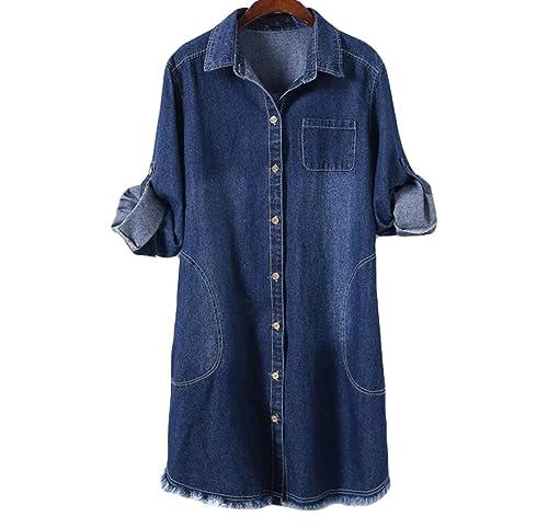 Vestido De Mezclilla Larga Era Delgada Camisa De Primavera De Manga Larga Capa De Rebabas