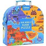 Eleganantamazing - Puzzle con Mapa del Mundo para niños, Juguetes educativos, Cultura, reconocimiento de la geografía, Juguete de Regalo 100 Piezas/Set