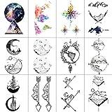 WYUEN 12 PCS/lot Mountain Temporary Tattoo Sticker for Women Men Fake Tatoo Body Art Adult Waterproof Stickers 9.8X6cm W12-08